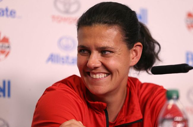 Christine Sinclair of the Canadian women's soccer team laughs during a press conference at Investors Group Field in Winnipeg on Tues., June 6, 2017.  (Postmedia Network file photo)