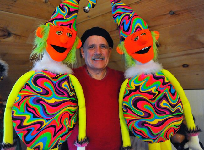 Port Dover puppeteer  Byron Morton holds two of the 40-plus puppets he's created that are part of the Light up the Holidays show at Lighthouse Festival Theatre  Dec. 7-9. The glow-in-the-dark production is the third holiday-themed offering Byron and his wife, Marlene, have been a part of since moving to the area in 2015. JACOB ROBINSON/Simcoe Reformer