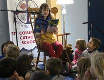 <p>Missy Harrison reads from her recently-published book, The Fallen Star, to students at St. Columban's Catholic School where she works on Thursday December 7, 2017 in Cornwall, Ont.</p><p> Alan S. Hale/Cornwall Standard-Freeholder/Postmedia Network
