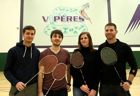 The College Boreal badminton team includes assistant coach Julien Belanger, left, Jonathan Boucher, Emilie Roy, and head coach Mike Dionne. John Lappa/Sudbury Star/Postmedia Network