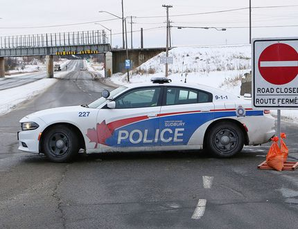 Municipal Road 55 between Balsam Street and Big Nickel Road was closed for a few hours on Saturday while Greater Sudbury Police investigated a fatality involving a vehicle and a pedestrian. (John Lappa/Sudbury Star)