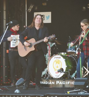 Alan Doyle and The Beautiful Band performed aboard the Canadian Pacific Holiday Train on Sunday afternoon, when the train stopped in Vulcan.