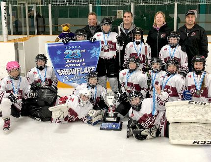 The Timmins Kiwanis Falcons won the gold medal in the Atom 'C' Division at the 23rd-annual Snowflake Challenge in Sudbury on Dec. 8-10. The Falcons beat the host Sudbdury Lady Wolves 2-1 in the championship game. Members of the team, not in order, are: Addi Dickson, Amanda Lafleur, Alexa Keinhuis, Brooklyn Lauzon, Gabi Brazeau, Grace Fortier, Isabelle Joanisse, Kenzie Blu Knapaysweet, Lacey Rivers, Laura Verbeek, Mya Provincial, Quinn Collins and Taylor Hachez, as well as manager Rick Lafleur, coach Ken Joanisse, assistant coach Sue Garlock-Provincial and trainer Luc Lauzon. SUBMITTED PHOTO