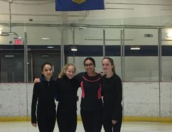 Kaiya MacDougall, Madison Mayer, Faith Crummy and Jessica McDonald are eager, but nervous, to represent Fort McMurray in Zone 7 figure skating at the Alberta Winter Games in February 2018. Supplied image/Tania Murowchuk