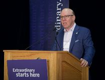 Aubrey Dan addresses dignitaries and students Monday at Western University. For the second time, Dan has donated $5 million to the DAN Department of Management and Organizational Studies at Western University. (Derek Ruttan/The London Free Press)