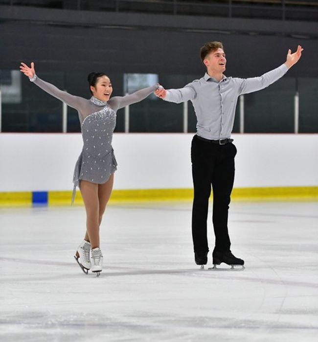 (L to R) Emi Swanson and partner Raine Eberl are ranked nationally in pairs figure skating.