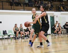 An MUCC Comets' junior girls basketball player drives the lane during the Comets' 54-20 win over Meadow Lake on Saturday, December 9 at MUCC.