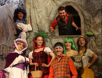 Stirling Festival Theatre Photo The annual festive pantomime is back on stahe at the Stirling Festival Theatre with Little Red, a sequel to Little Red Riding Hood. This year's cast includes (from left to right, starting in the back row) Dan Thompson as Boy Blue and Dan Abrahamson as bad wolf, Sal Figliomeni as Aunt Violet, Stefne Mercedes as Red, J.P. Morgan as Mr. Maple, Megan Poole as wood nymph and Nicola Hadjis as Amber.