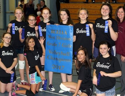 Sean Chase/Daily Observer Rockwood Public School won the RCEIAA West Division Grade 7 Girls Volleyball title on Dec. 6. Here are the champs: (front left to right) Maddy Lemire, Olivia Borne, Miranda Maves, Bailey Jodoin, (back left to right) Hilary Zadow, Lily Kargus, Nadia Mackinnon, Avery McEvoy, Reese Edwards, Abby Lundy and coach Gale Peever.