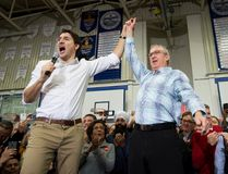Prime Minister Justin Trudeau, left, and South Surrey-White Rock Liberal byelection candidate Gordie Hogg attend a rally in Surrey, B.C., on Saturday, December 2, 2017. THE CANADIAN PRESS/Darryl Dyck