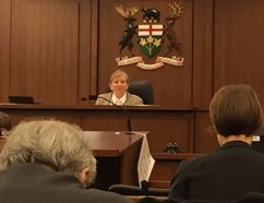 Justice Eileen Gillese presides in St. Thomas at a public inquiry into Ontario's long-tern care homes and the murders of residents by former nurse Elizabeth Wettlaufer. (Jonathan Sher/The London Free Press)