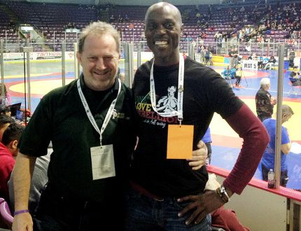 John Burke, left, of the Sarnia/Bluewater Wrestling Club is coaching Kevin Wallen of Kingston, Jamaica, at the Commonwealth wrestling championships this week in South Africa. (Contributed Photo)