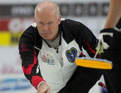 Team Ontario skip Glenn Howard delivers his stone during his opening round draw against pre-qualifer winner Nova Scotia at the Tim Hortons Brier on March 4, 2017. (Curling Canada)