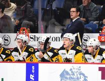 Hamilton Bulldogs associate coach Dave Matsos is shown behind the bench earlier this season. Matsos, the Sudbury Wolves' former head coach, will make his return to the Nickel City on Friday. Aaron Bell/OHL Images