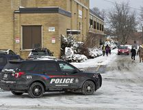 Brantford police arrested a 13-year-old boy at North Park Collegiate on Wednesday morning after the social media posting threatened violence at the high school. (Brian Thompson/The Expositor)