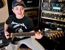 Aspiring musician Owen Davey was recently at Charterhouse Studios in London playing a few Metallica riffs on a brand new guitar. (CHRIS MONTANINI, Londoner)