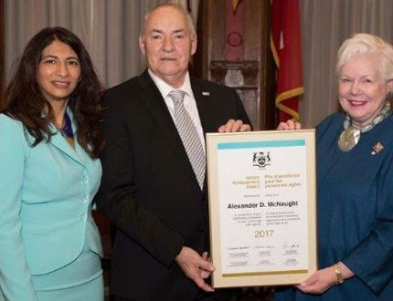 Submitted photo The Honourable Dipika Dimeria, Minister of Senior Affairs, left, and Her Honour The Honourable Elizabeth Dowdeswell, Lt. Governor of Province of Ontario, recently presented Alexander D. McNaught of Wallbridge with a 2017 Ontario Senior Achievement Award. The award is the highest form of recognition given by the province to honour citizens over the age of 65.