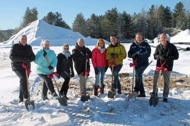 On Dec. 13, the Town of Petawawa held a sod-turning ceremony in celebration of the Parkwood Place apartment complex that will be built on Highland Park Drive. Pictured here (from left) are Coun. Murray Rutz, Town of Petawawa director of planning and development Karen Cronier, economic development officer Cyndy Phillips, Mayor Bob Sweet, Lisa Lance, Darryl Lance, Todd Clouthier and Brad Clouthier.