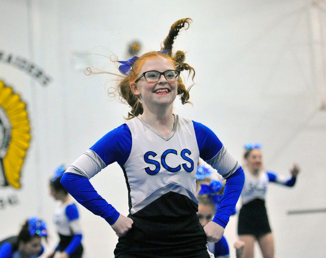 The Simcoe Sabres won their second straight NSSAA cheerleading title Wednesday in Delhi. Pictured, Aislyn Roake competes for the Sabres.