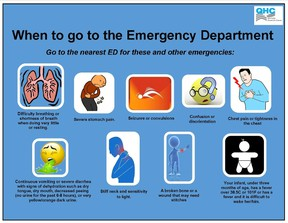 QHC Graphic Residents are being asked to avoid going to their hospital's emergency department unless they are showing severe flu symptoms. There have been confirmed cases of the flu in the Quinte region.