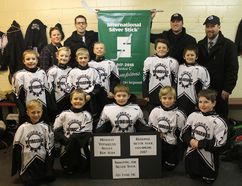 Whitewater Township's Novice C Muskrat Voyageurs will be competing at the International Silver Stick in Pelham, ON from Jan. 11 to 15. Pictured in back row (from left) are manager Michelle Allmand, head coacch Mark Lang, assistant coach Jeff Vereyken and trainer Greg Kenny. In middle row (from left) are Wyatt Lang, Colton Vereyken, Cedrik Dionne, Seamus Darrah, Andrew Enright and Jaxson Allmand. In front row (from left) are Jakob Dumouchel, Jack Lynch, Nolan Lang, Callum Kenny and Lou Danis.