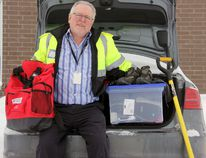 Dave Colvin, emergency management co-ordinator for Perth County, shows some the things drivers should always keep handy in their vehicles, especially when the forecast calls for snow storms. JONATHAN JUHA/THE BEACON HERALD/POSTMEDIA NETWORK