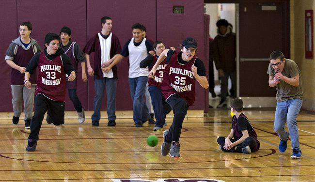 Brian Thompson/The ExpositorBraden Brott (35) of Pauline Johnson Collegiate dashes across the gym floor during an inaugural dodgeball tournament for special education students.