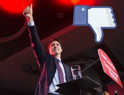 Liberal leader and incoming prime minister Justin Trudeau is seen on stage at Liberal party headquarters in Montreal on Monday, Oct. 19, 2015 after winning the 42nd Canadian general election.Justin Tang / THE CANADIAN PRESS
