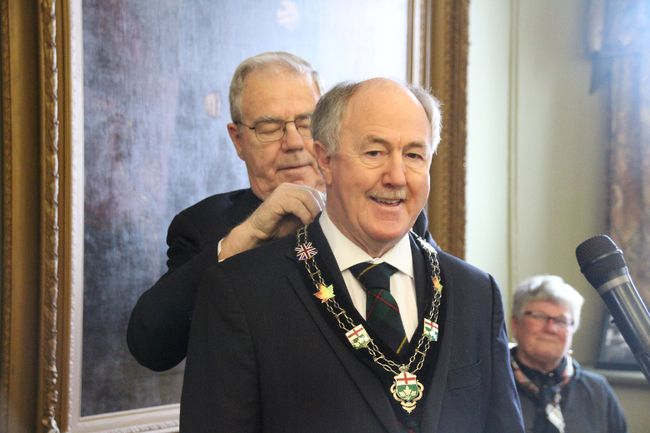 <p>South Glengarry Mayor and SDG Coun. Ian McLeod received his chain of office as SDG County warden from Coun. Chris McDonell at a ceremony on Friday December 15, 2017 in Cornwall, Ont. </p><p> Alan S. Hale/Cornwall Standard-Freeholder/Postmedia Network