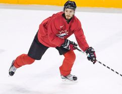 Canadian national junior team prospect Victor Mete, on loan from the Montreal Canadiens, takes part in a drill on the first day of selection camp for the 2018 World Junior Hockey Championship in St. Catharines, Ont., Tuesday, December 12, 2017. (THE CANADIAN PRESS/Aaron Lynett)
