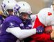Western Mustangs defensive end Connor Martin of Chatham, Ont., makes a tackle against the Laval Rouge et Or during the Vanier Cup in Hamilton, Ont., on Saturday, Nov. 25, 2017. (BRANDON VANDECAVEYE/www.brandondavid.ca)