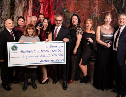 Alex Filion Photography/For The Sudbury Star Seen here is Tannys Laughren, director of the Northern Cancer Foundation, accepting Miners for Cancer's $30,000 donation on behalf of the Northeast Cancer Centre.From the left areDenis DesForges (Miners for Cancer), Sylvie Levert (Miners for Cancer), Laughren, Phil Perras (Miners for Cancer), Mandy Brosseau (Vice-President, Miners for Cancer), Wayne Tonelli (President, Miners for Cancer), Samantha Kuula (Miners for Cancer), Joni Mascioli (Miners for Cancer), Natasha James (Miners for Cancer) and Rob Ferrucci (Miners for Cancer).