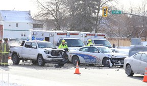 Greater Sudbury EMS and Fire responded to a 2 vehicle collision involving a police cruiser at the corner of Paris and Brady ztreets in Sudbury, Ont. on Sunday December 17, 2017. Injuries were reported in the incident. Gino Donato/Sudbury Star/Postmedia Network