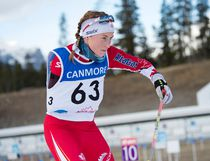 Emily Young from Canada leaves the range on her way to a third place finish in the women's standing biathlon pursuit at the Para-Nordic Skiing World Cup at the Canmore Nordic Centre on Sunday, December 17, 2017. (Pam Doyle/ pamdoylephoto.com)