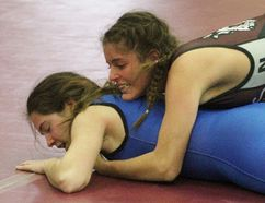 Northwestern's Maria Giannakopoulos won both of her matches at the Nicole Wagler Wrestling Tournament. (Cory Smith/The Beacon Herald)