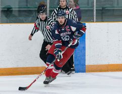 Tim Gordanier/The Whig-Standard Port Hope Panthers defenceman Cameron McGill, seen playing against the Amherstview Jets in January 2017, scored one goal and added four assists as the Panthers downed the Picton Pirates 8-3 on Saturday night.