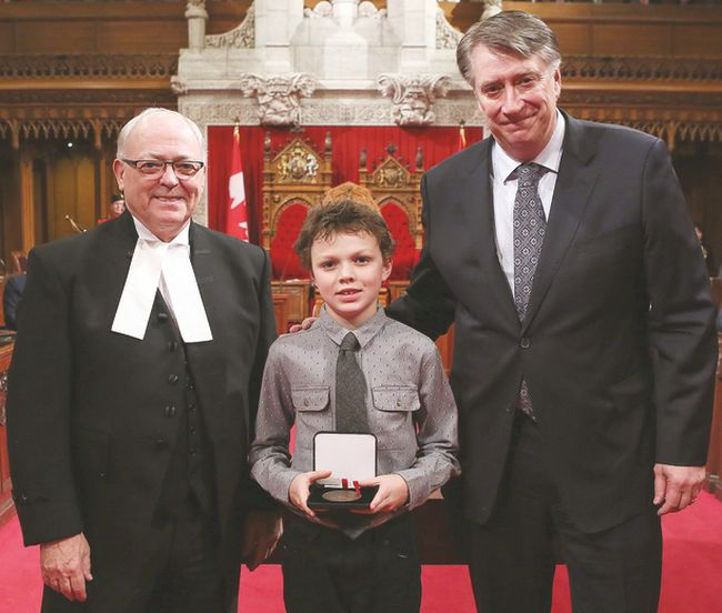 Photo courtesy of Scott Tannas. Tate Barton received his award in Ottawa on Nov. 29.