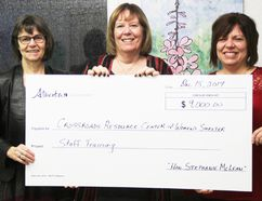 JOANNE McQUARRIE/FAIRVIEW POST Marg McCuaig-Boyd, MLA, Dunvegan-Central Peace-Notley, minister of energy, presented a grant for $9,000 to the Crossroads Resource Centre and Women's Shelter on Dec. 15. Accepting the grant were Crossroads staff members, Eileen Coristine, public education, (left) and executive director, Wendy Beigel. The grant, Beigel said, will assist staff in getting training about trauma and its impact on women and children.