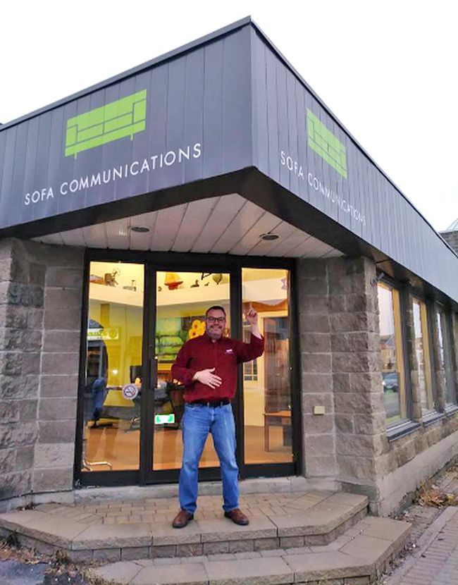 After 12 years renting space, Sofa Communications owner/creative director Jason Sanderson says the time was right to invest in the community and purchase the building at 938 Cassells St. Supplied Photo