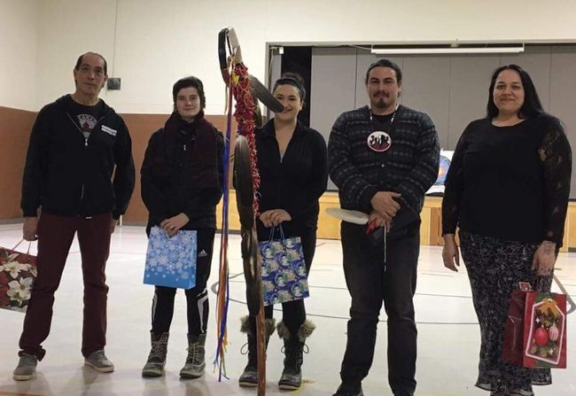 (L-R): Aaron Keeshig, Tianna Fillo, Jackie Hines, E Naad Maa Get (Branden Emmerson), Julie Robichaud. (Contributed by Martha Pedonoquotte)