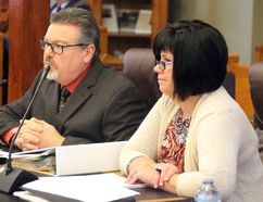 <p>Glen Stor Dun Lodge administrator Norm Quenneville, left, and City of Cornwall treasurer Tracey Bailey give a presentation to the SDG council on the shared services budgets; on Monday December 18, 2017 in Cornwall, Ont. </p><p> Alan S. Hale/Cornwall Standard-Freeholder/Postmedia Network