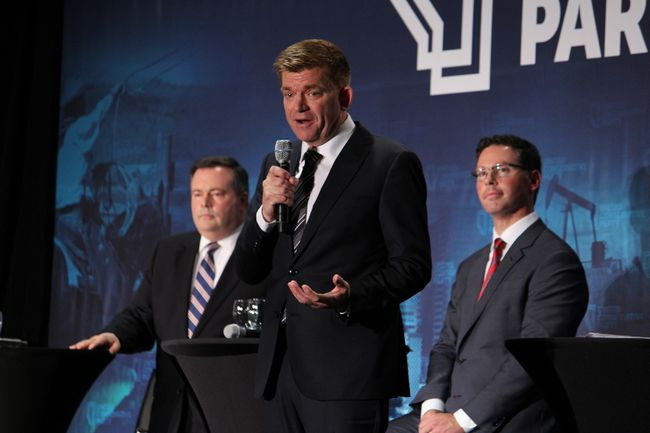Brian Jean speaks at a debate for leadership candidates of the United Conservative Party at Shell Place in Fort McMurray, Alta. on Thursday October 12, 2017. Vincent McDermott/Fort McMurray Today/Postmedia Network