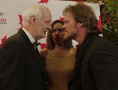 """Canadian actor Colin Mochrie (as himself), left to right, Sabryn Rock (""""Emily"""" the Canadian Peacemonger) and Chris Jericho star in a scene from Season 2 of But I'm Chris Jericho, now available on cbc.ca. (Photo courtesy of CBC.ca)"""