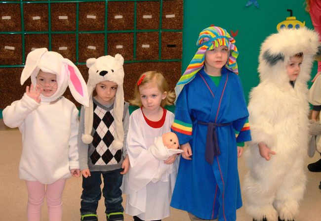 King's Kids Nursery School students dressed up as a bunny, a polar bear, Mary, Joseph and an unidentified creature to entertain a group of seniors at Rosewood Manor Retirement Community on Dec. 18. 