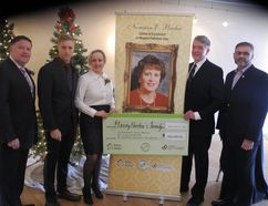 A $500,000 donation to the Maison McCulloch Hospice Foundation was announced Friday by the Perdue family in memory of Norinne E. Perdue. Left to right are: Gerry Perdue, son Cameron, daughter Angela, Gerry Lougheed Jr., chairman of the MCH Foundation board, and Leo Therrien, executive director of the hospice.
