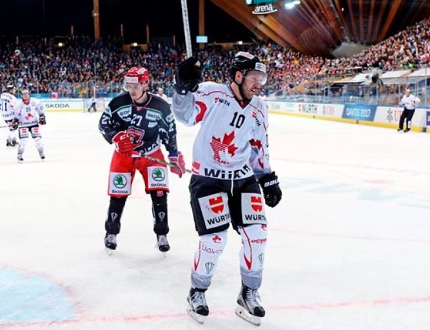 Team Canada's Curtis Hamilton celebrates after scoring 2-1 during the game between Canada and Mountfield HK at the 91st Spengler Cup ice hockey tournament in Davos, Switzerland on Tuesday, Dec. 26, 2017. Canada is two-time defending champions at the Spengler Cup and will use the tournament as a final evaluation before deciding on its Olympic roster in January. THE CANADIAN PRESS