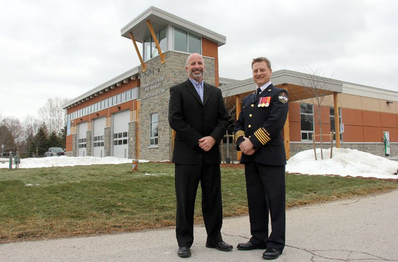 Middlesex Centre director of community services Scott Mairs, left, and fire Chief Colin Toth stand outside the department's new fire hall in Coldstream. JONATHAN JUHA/STRATHROY AGE DISPATCH/POSTMEDIA NETWORK