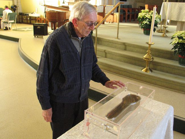 <p>Cornwall resident Roger Guevremont, viewing the St. Francis Xavier relic on Wednesday December 27, 2017, in Cornwall, Ont.  It began a Canadian tour at  St. Columban's Church. </p><p> Todd Hambleton/Cornwall Standard-Freeholder/Postmedia Network