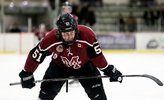 Chatham Maroons' Grant Spence (51) plays against the LaSalle Vipers in the third period at Chatham Memorial Arena in Chatham, Ont., on Sunday, Dec. 10, 2017. (MARK MALONE/Chatham Daily News/Postmedia Network)
