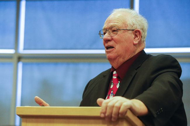 Intelligencer file photo Quinte West Mayor Jim Harrison speaks at a meeting about the Trenton Community Health Hub Thursday, December 21 at Quinte West city hall in Trenton. He said the teamwork of many agencies has resulted in solid plans for a facility which will benefit many.